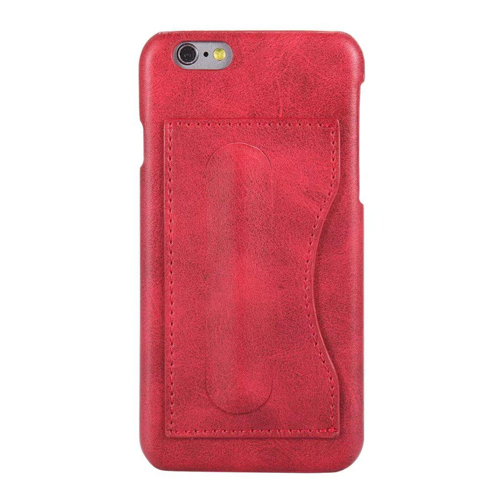 Shops Card Holder with Stand Back Cover Solid Color Hard PU Leather Case for iPhone 8 / 7