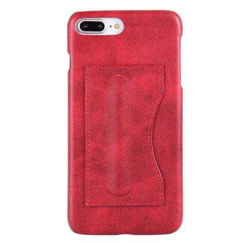 New Card Holder with Stand Back Cover Solid Color Hard PU Leather Case for iPhone 8 Plus / 7 Plus
