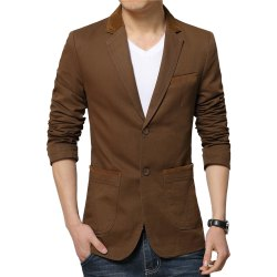 Winter Fall Spring Men Turn-Down Collar Overcoat Casual Fashion Slim Outwear Trench Coat -