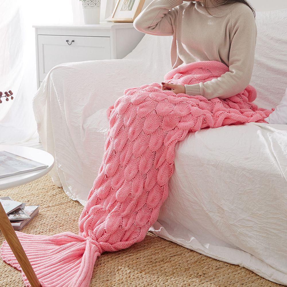 Fashion Knitting Fish Scale Design Mermaid Blanket Child Adult