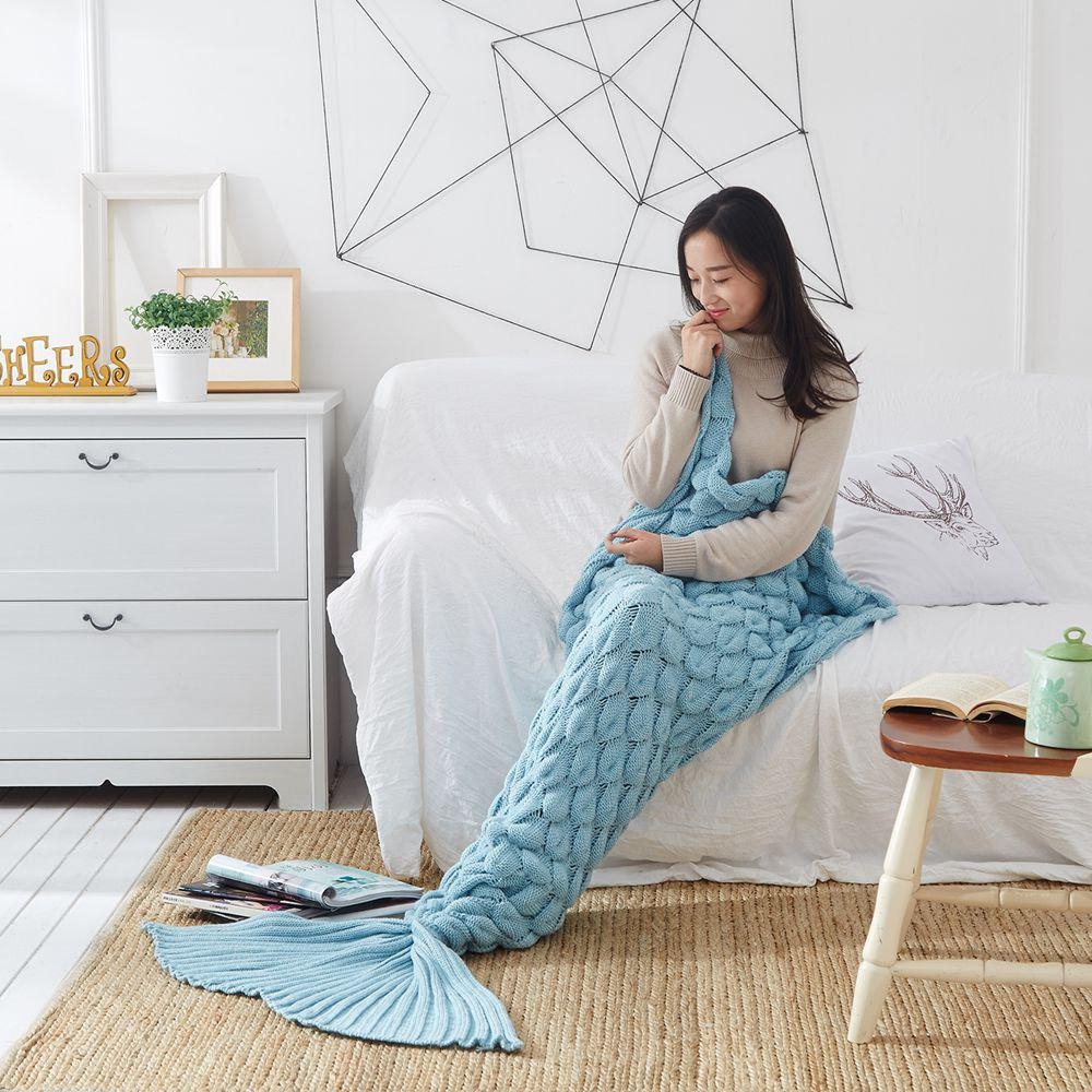 Shop Knitting Fish Scale Design Mermaid Blanket Child Adult