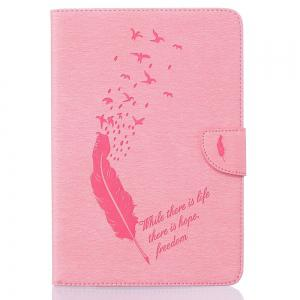 Feather Pattern Embossing Card Slot Wallet Cover Case for iPad Mini 4 -