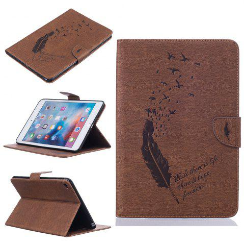Unique Feather Pattern Embossing Card Slot Wallet Cover Case for iPad Mini 4