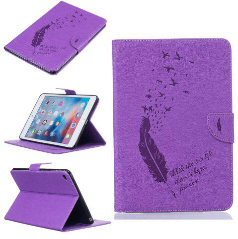 Fashion Feather Pattern Embossing Card Slot Wallet Cover Case for iPad Mini 4