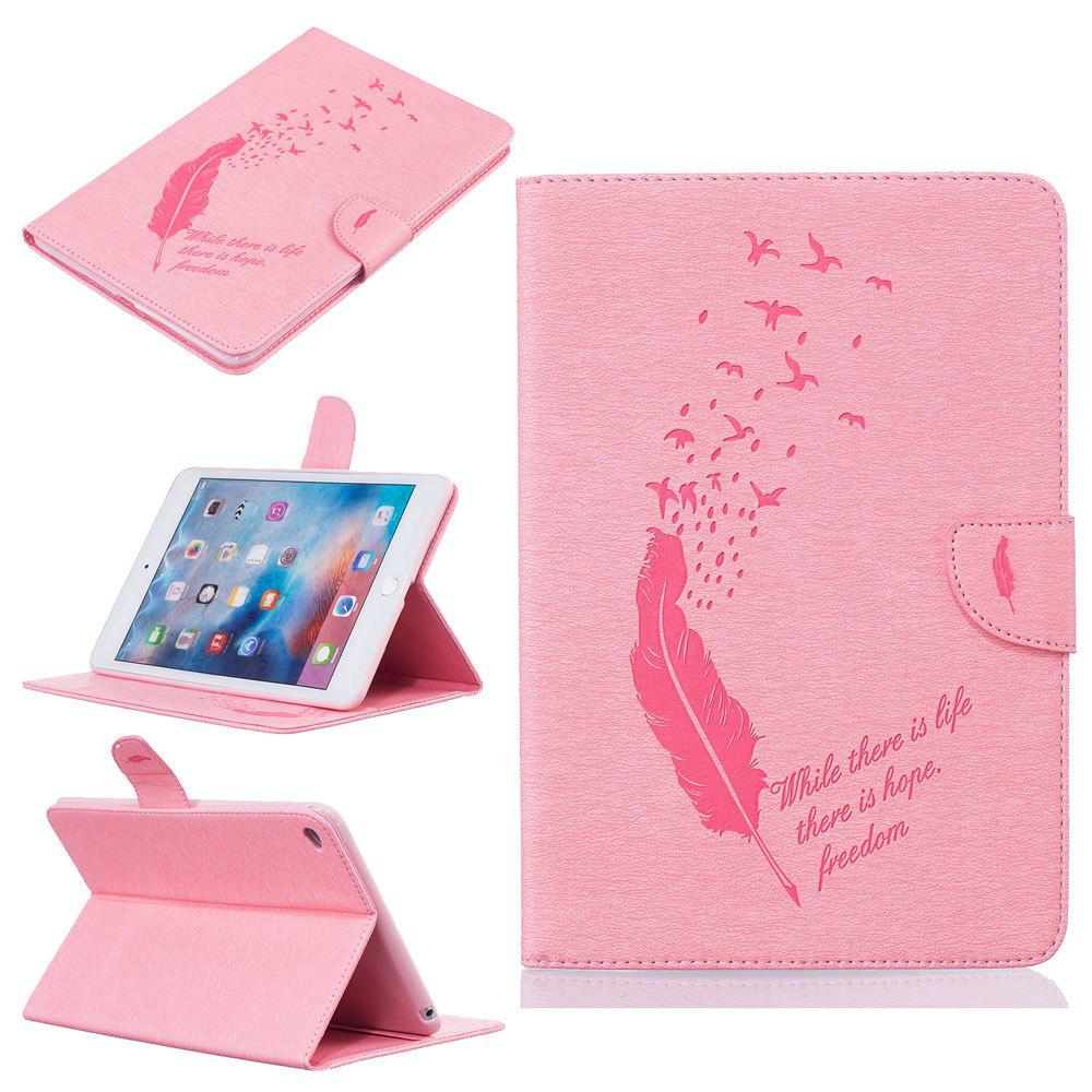 Shop Feather Pattern Embossing Card Slot Wallet Cover Case for iPad Mini 4