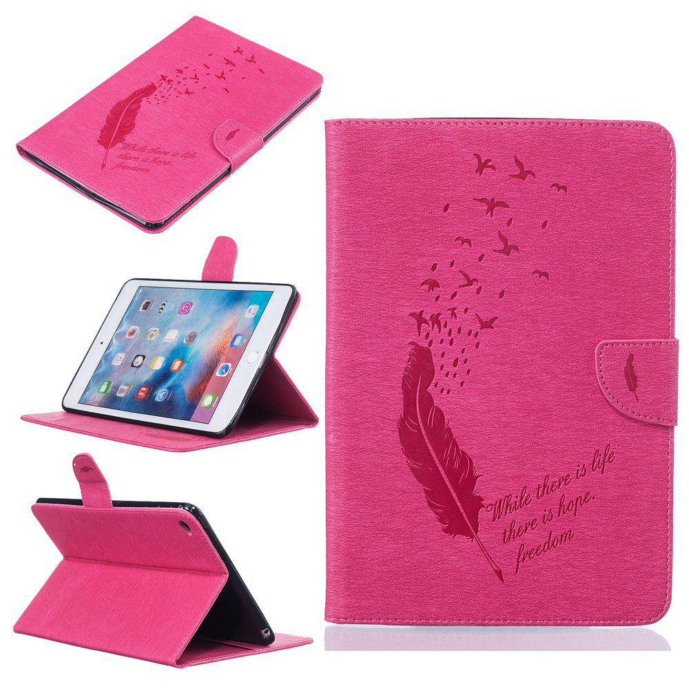 Shops Feather Pattern Embossing Card Slot Wallet Cover Case for iPad Mini 4