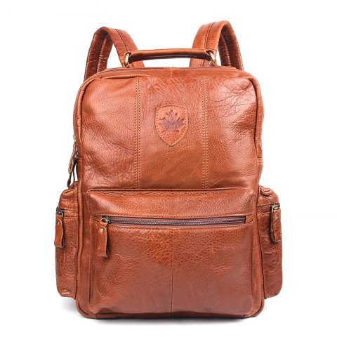 Brown Unisex Genuine Leather Laptop Backpack Women School Bags ...