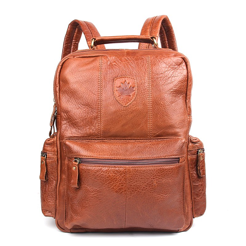 ecf476d27f Unique Unisex Genuine Leather Laptop Backpack Women School Bags Mochila  Feminina Travel Backpacks Mochilas Leather Bag
