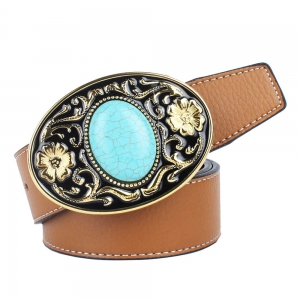 The western cowboy belt of turquoise stone -