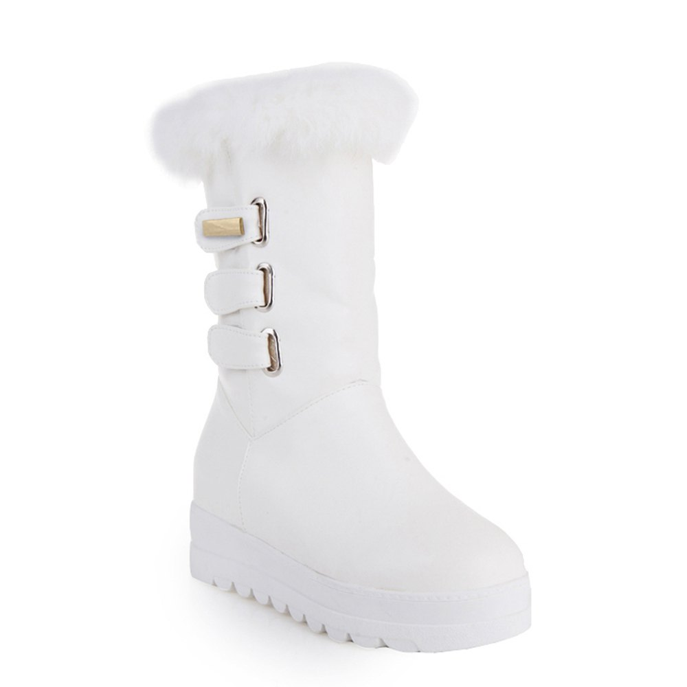 new concept 710b8 8b629 Warm and Leisure Flat Bottom Inner Raised Short Female Boots Black Red and  White