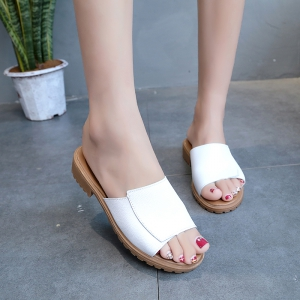 KMN-702 Pure Color One Tone Flat Heel Fish Beak Female Low Heel Slipper -