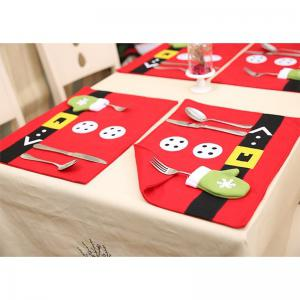 Christmas Table Mat Restaurant Decoration Western Knife and Fork Table Mat Set -