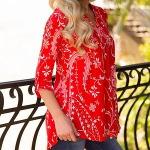 No Positioning Printing Big Size Blouse -