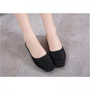 Ladies Rubber Flat Sole Covered  Slippers -