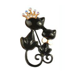 Black Mother Daughter Cats Brooches Crystal Crown Queen Corsages Hijab Pin Women Hats Scarf Suit Brooch Clothes Buckles -