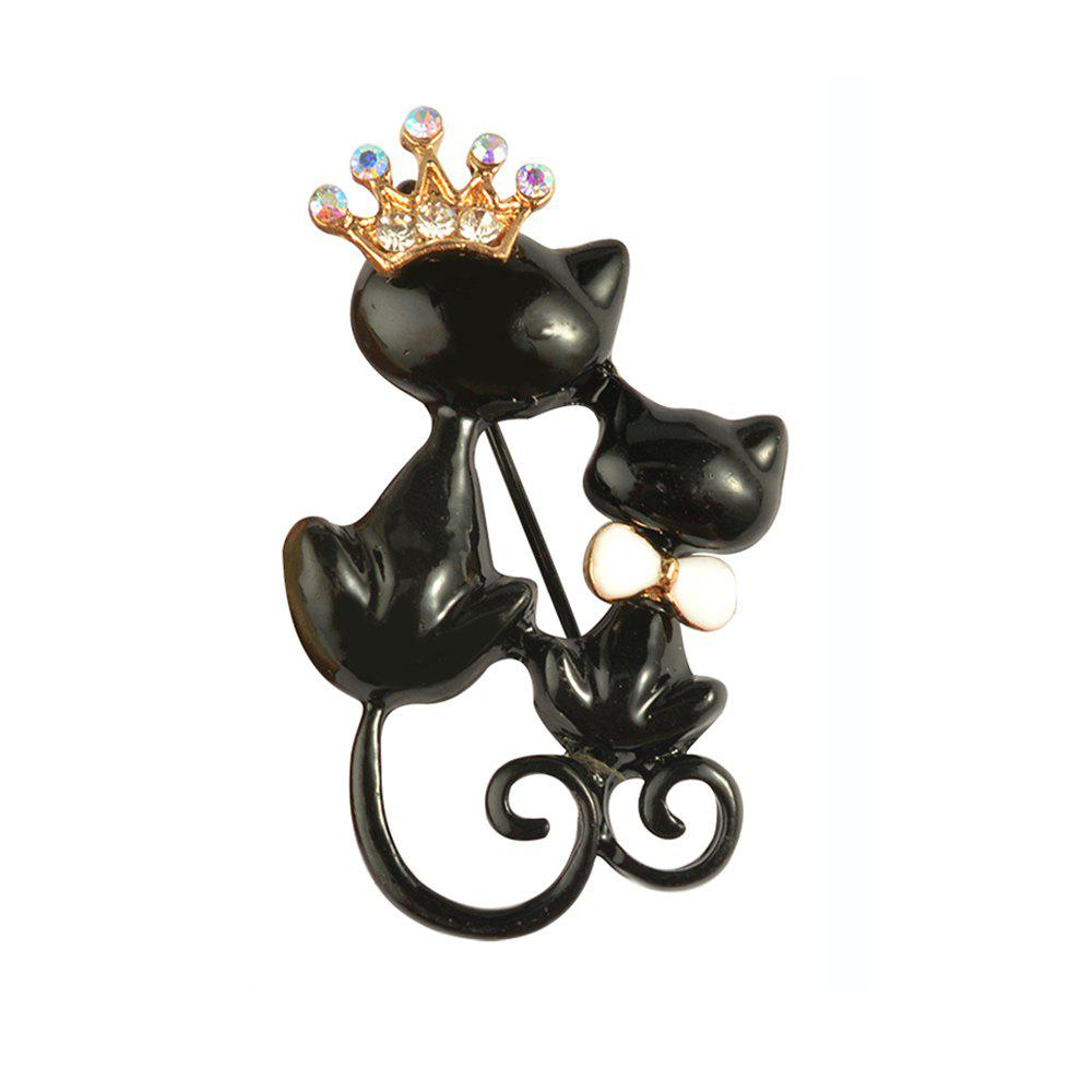 Cheap Black Mother Daughter Cats Brooches Crystal Crown Queen Corsages Hijab Pin Women Hats Scarf Suit Brooch Clothes Buckles