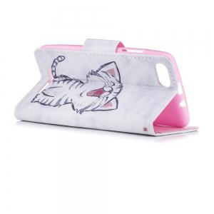 Red-Billed Cat Painted PU Phone Case для Wiko Lenny3 -