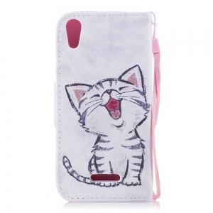 Red-Billed Cat Painted PU Phone Case для Wiko Lenny4 -