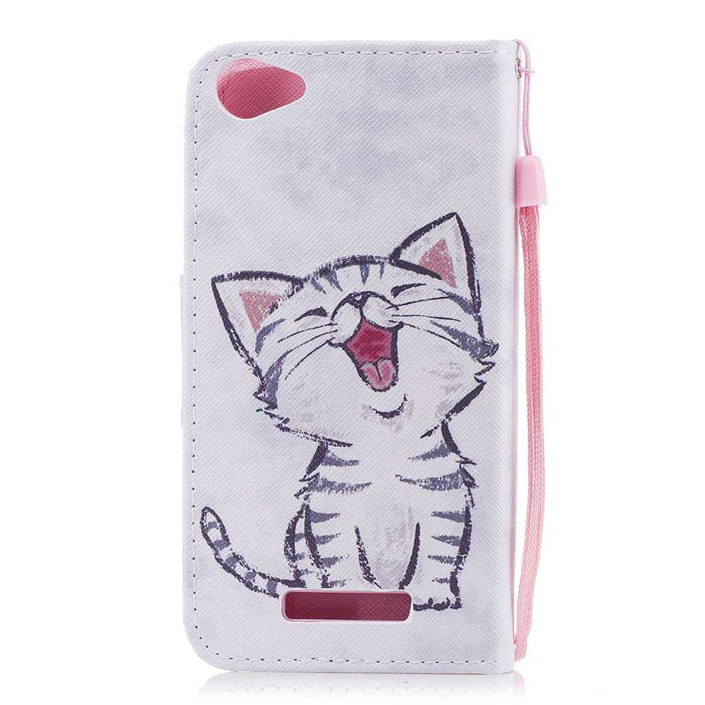 Red-Billed Cat Painted PU Phone Case для Wiko Lenny 3 Макс.