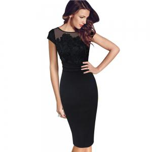 Women 2017 Summer Plus Size Retro Vintage Bodycon Lace Embroidery Evening Party Black Red Work Pencil Office Dress -