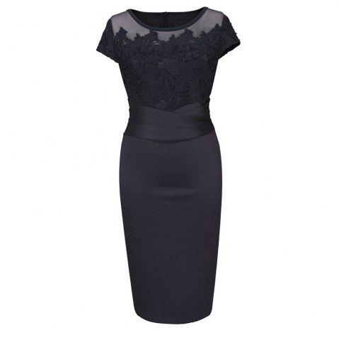 Unique Women 2017 Summer Plus Size Retro Vintage Bodycon Lace Embroidery Evening Party Black Red Work Pencil Office Dress