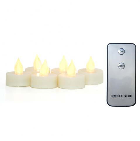 Chic Set of 6pcs Realistic Flameless Tealight Candles Bright Battery Operated