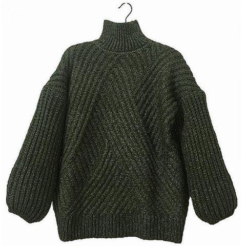 Shops Casual Style Striped Long Sleeved Turtleneck Backing Sweater