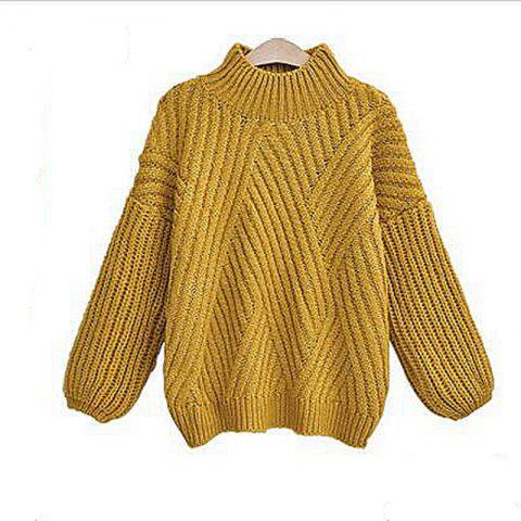 Outfits Casual Style Striped Long Sleeved Turtleneck Backing Sweater