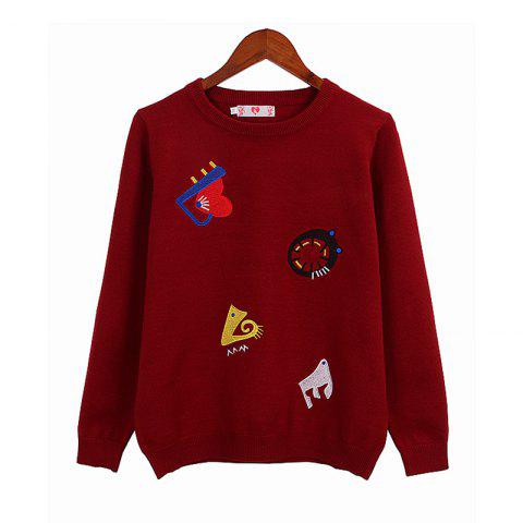 Online Street Fashion Style Embroidered Cartoon Pattern Long Sleeved Sweater