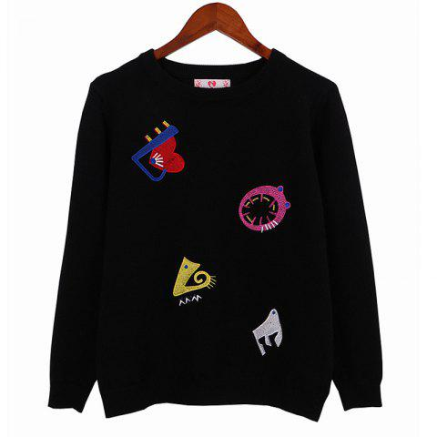 Unique Street Fashion Style Embroidered Cartoon Pattern Long Sleeved Sweater