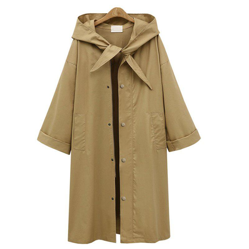 Fashion Autumn 2017 New Europe Station Fashion Style Long, Pure Color Hooded Women'S Wear Women'S Coat