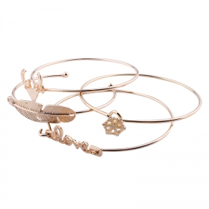 Письма Love Antlers Feathers Shape Alloy Open Bangle Set -