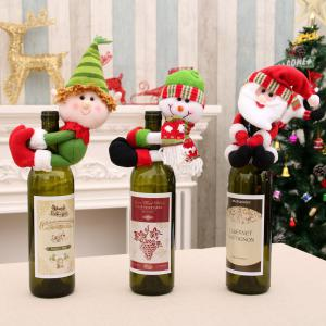 Set of 3 New Christmas Santa Claus Snowman Dolls Decorations Held Red Wine Bottle Bar Package Restaurant Decor Awesome G -