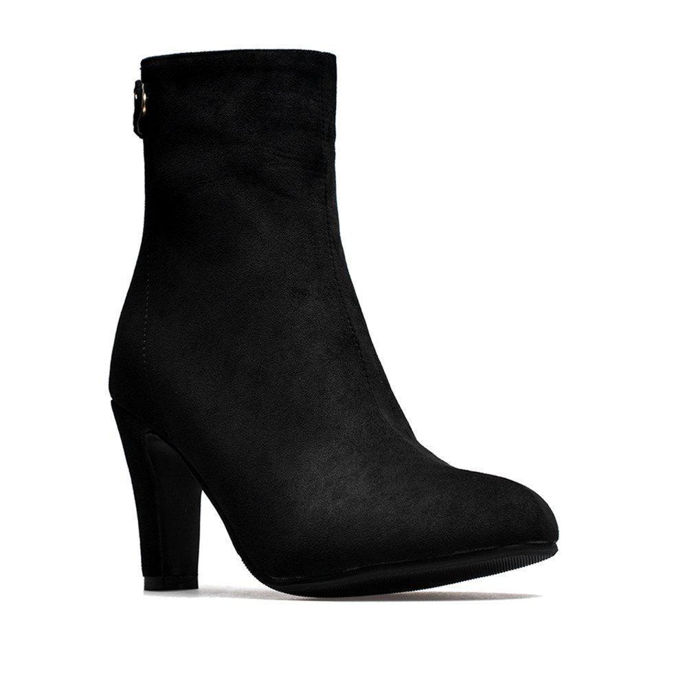 Fashion Miss Shoes 1309 Round Head and High Heel Height Heel Stretch Boot