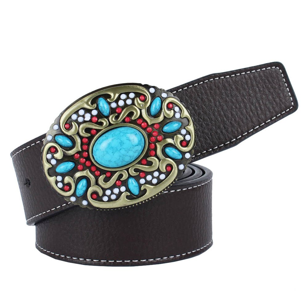 Fancy Blue Gem Belt Leather