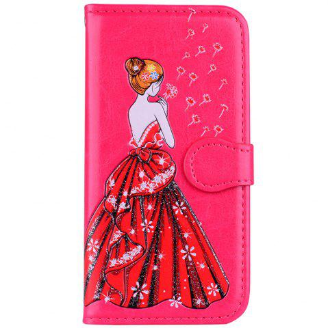 Outfit Luxury  Shiny Embossed Girl Flip Leather Case for Samsung Galaxy S6