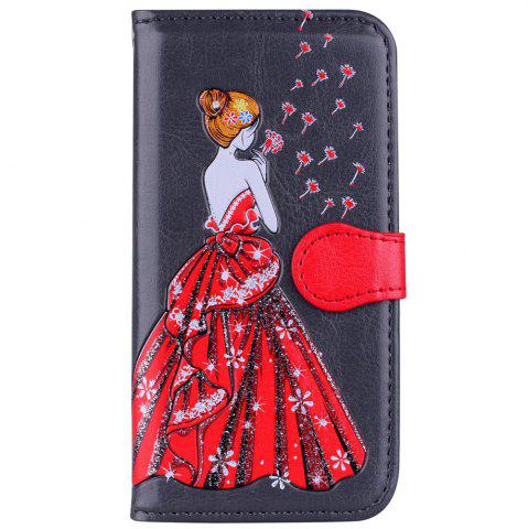 Discount Luxury  Shiny Embossed Girl Flip Leather Case for Samsung Galaxy S6