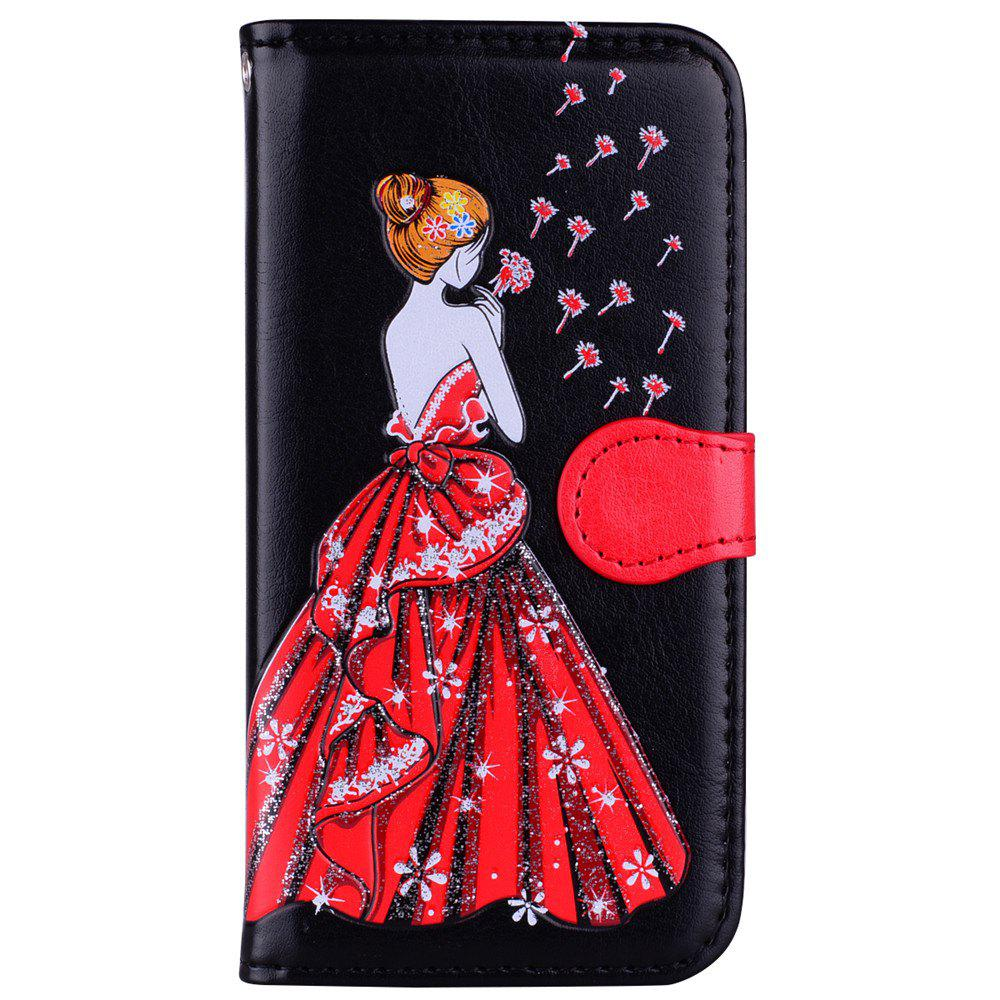 Fancy Luxury  Shiny Embossed Girl Flip Leather Case for Samsung Galaxy S6