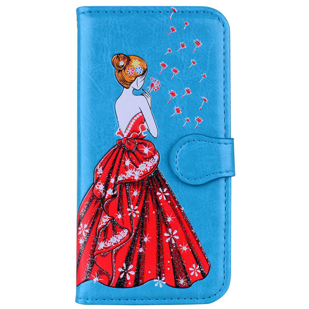 Chic Luxury  Shiny Embossed Girl Flip Leather Case for Samsung Galaxy S6