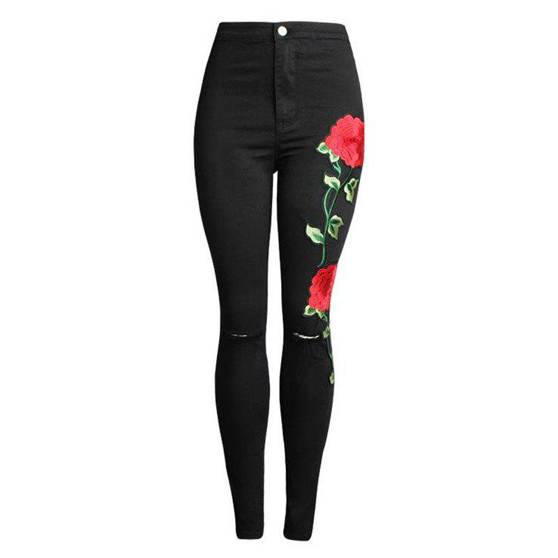 Hot Embroidered Broken Black Jeans