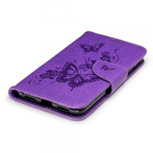 Embossed Peach Butterfly PU TPU Phone Case for HUAWEI P8 Lite 2017 / Honor P8 Lite 2017 -