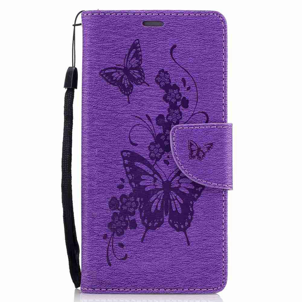 Store Embossed Peach Butterfly PU TPU Phone Case for Huawei P9 Lite