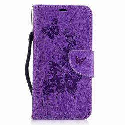 Embossed Peach Butterfly PU TPU Phone Case for ASUS Zentone 3 / Ze520kl -