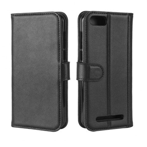 Unique Solid Color Real Cow Leather Wallet Style Front Buckle Flip Case with Card Slots for Doogee X20/Doogee X20L