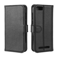 Solid Color Real Cow Leather Wallet Style Front Buckle Flip Case with Card Slots for Doogee X20/Doogee X20L -