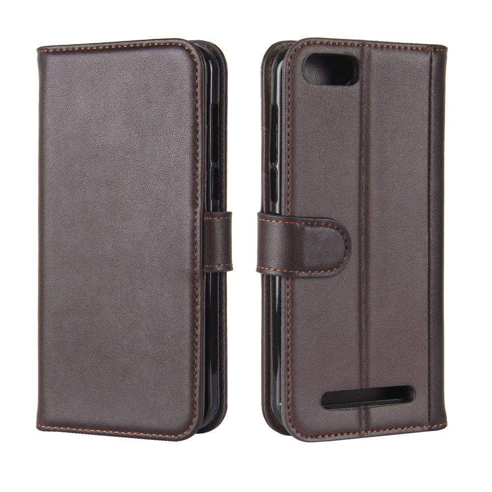 Fancy Solid Color Real Cow Leather Wallet Style Front Buckle Flip Case with Card Slots for Doogee X20/Doogee X20L