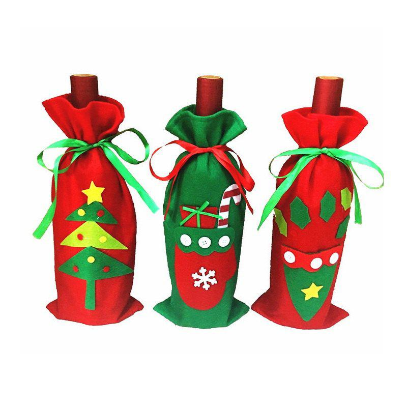 Trendy 3pcs Good Quality Christmas Accessory Wine Bottle Slipcovers