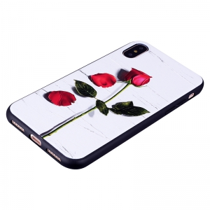 Rose Pattern Soft TPU Case for iPhone X -
