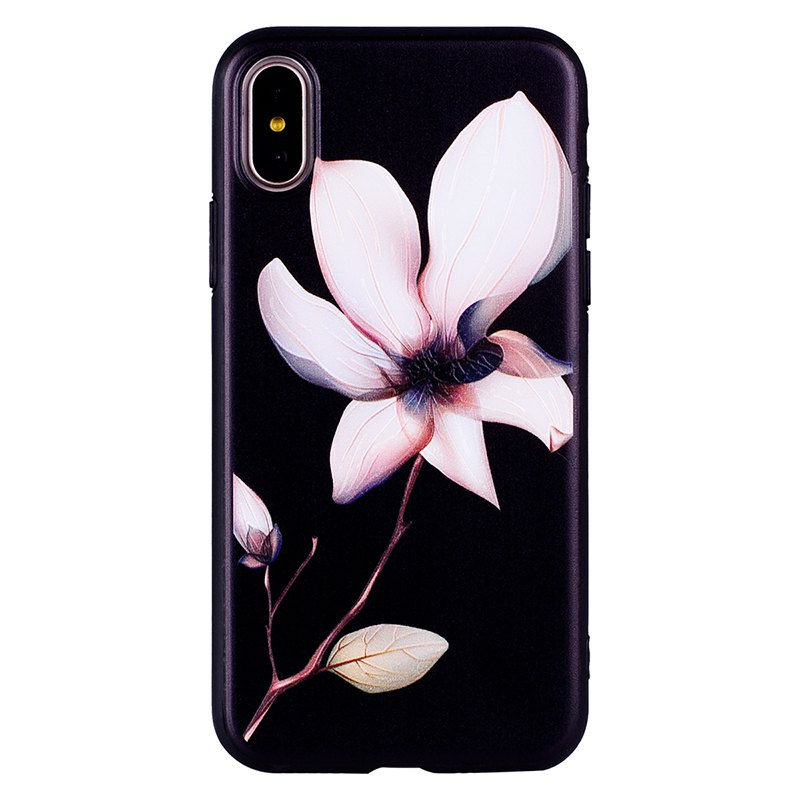 Trendy Datura Flower Pattern TPU + PC Case for iPhone X