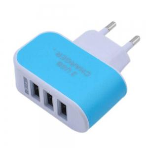 3USB Candy Charger LED Light Mobile Charging Head Smart Multi-Port USB Charger Travel To The EU Standard -